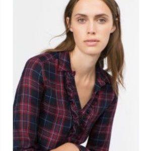 Zara Premium Collection Plaid Ruffled Button Down